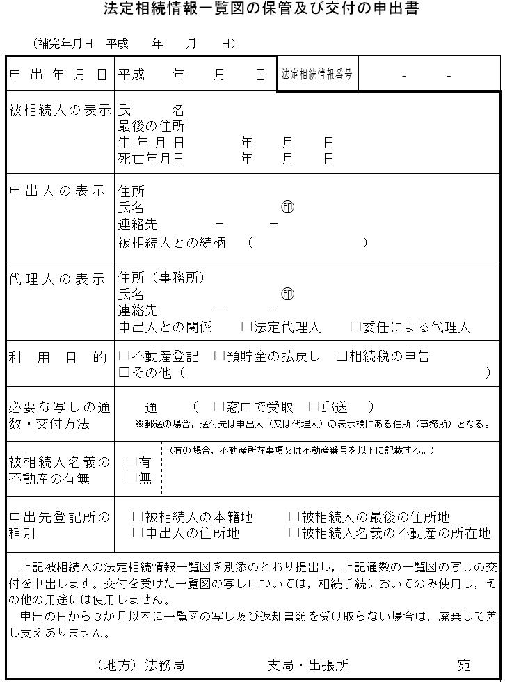 法定相続証明情報の申出書サンプル画像